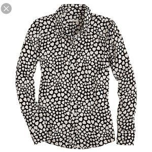 J.Crew Black Label Silk Boy Shirt Heart Throb (0)